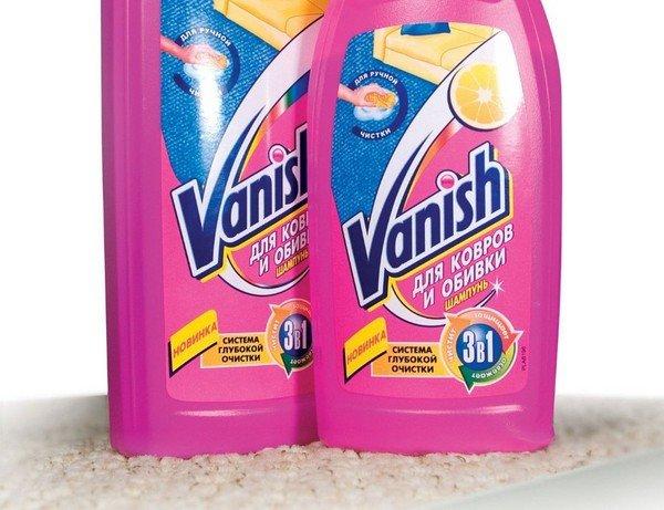 Средства «Ваниш» могут удалять неприятных запах с ковров, отбеливать их, выводить пятна