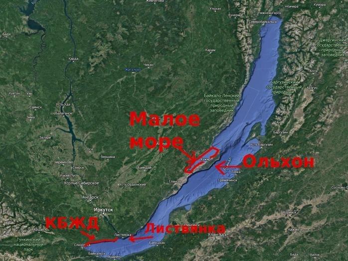 Озеро Байкал, карта