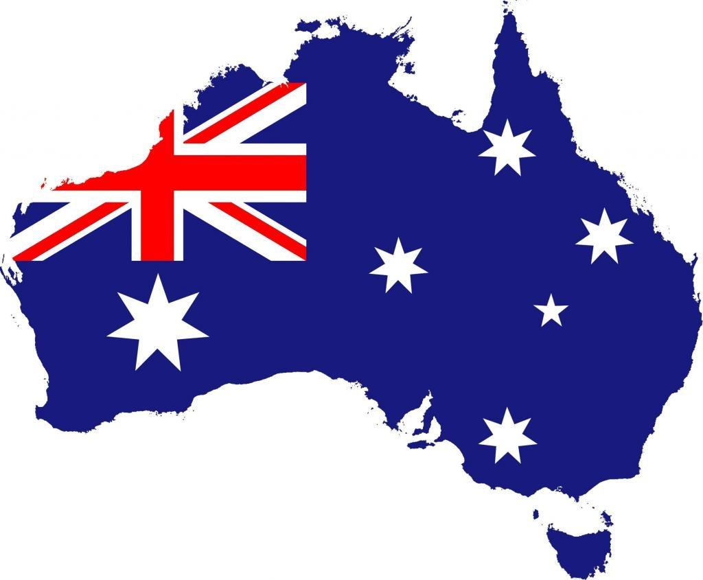 очертания Австралии раскрашенные, как ее флаг