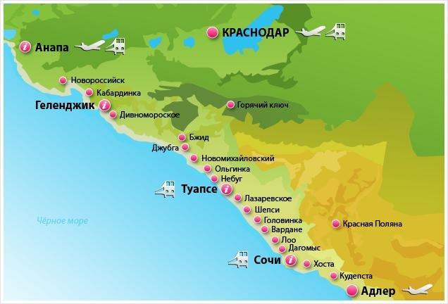 курорты Крансодарского края