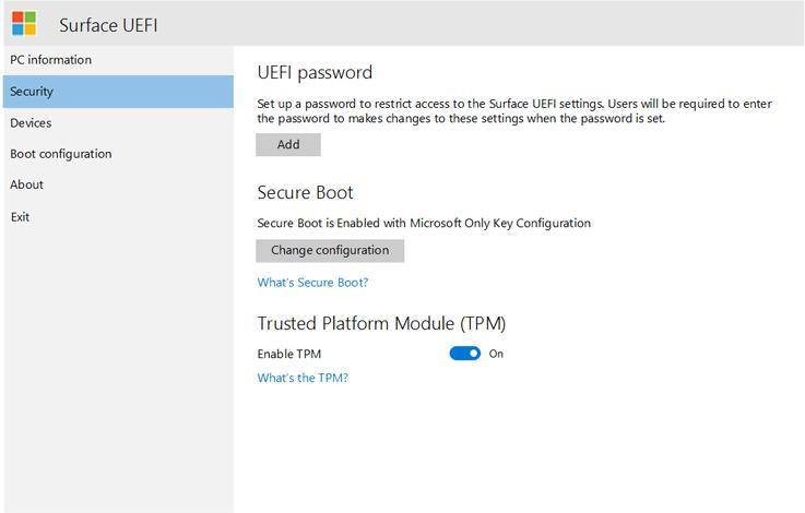 Отключение безопасной загрузки и модуля TPM на планшетах Surface