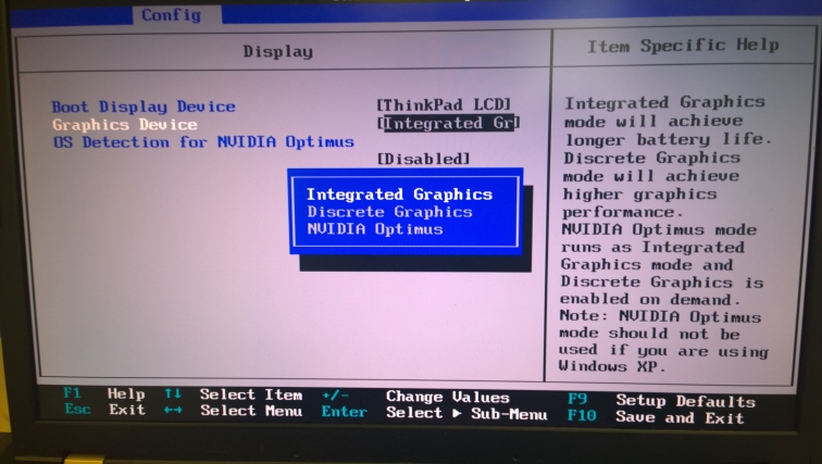 Переключнеие видеокарт в BIOS